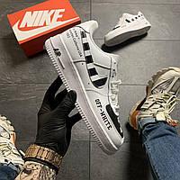Мужские кроссовки Nike Air Force Low Off-White, Мужские Найк Аир Форс Кожаные белые мужские кроссовки