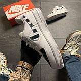 Кроссовки белые низкие Nike Air Force Найк Аир Форс Кожа Офф вайт 🔥 Найк мужские кроссовки 🔥, фото 4