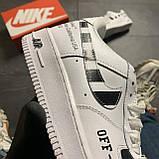 Кроссовки белые низкие Nike Air Force Найк Аир Форс Кожа Офф вайт 🔥 Найк мужские кроссовки 🔥, фото 9