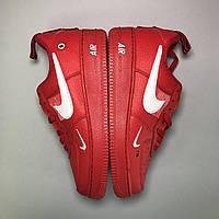 Мужские кроссовки Nike Air Force Low Red, Мужские Найк Аир Форс Кожаные красные мужские кроссовки