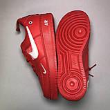 Мужские кроссовки Nike Air Force Low Red, Мужские Найк Аир Форс Кожаные красные мужские кроссовки, фото 2