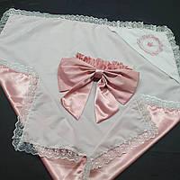 Покрывало-конверт на летнюю выписку или крестины розового цвета с именной вышивкой