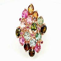Кольцо с натуральными Турмалинами и Рубинами