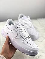Мужские кроссовки Nike Air Force 1 Full White, Мужские Найк Аир Форс 1 Белые мужские кроссовки