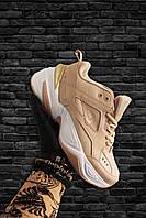 Женские кроссовки Nike M2K Tekno Beige White, Женские Найк М2К Текно Пудра Кожаные