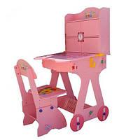 Детская парта Bambi (Metr+)  125 розовая, на колесиках, часы
