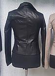 Чорна куртка з натуральної шкіри, фото 2