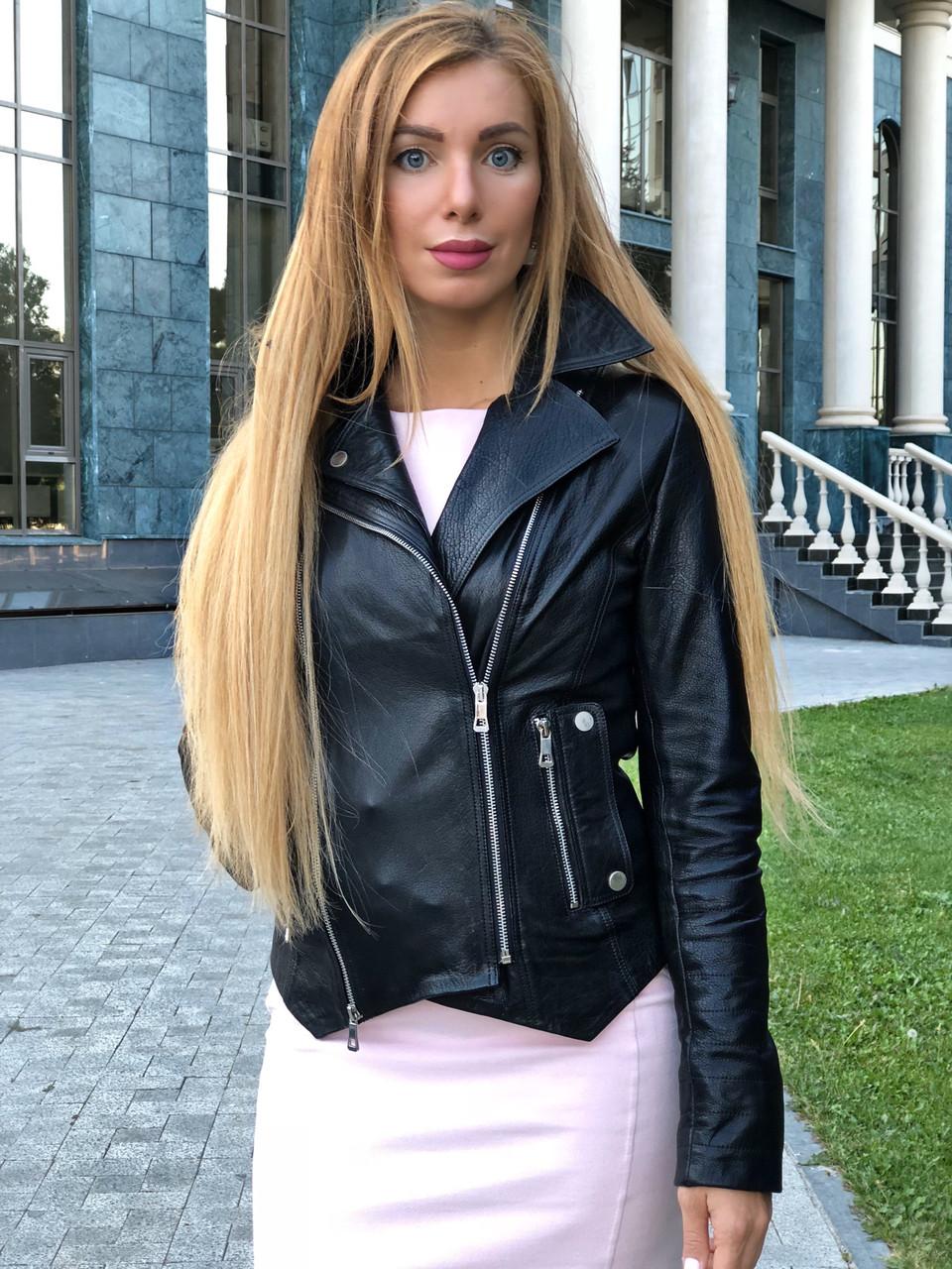 Черная куртка из натуральной кожи Джамбо