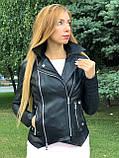 Черная куртка из натуральной кожи Джамбо, фото 5