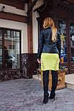 Черная куртка из натуральной кожи со стегаными плечиками, фото 5