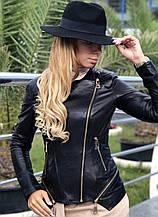 Черная куртка из натуральной кожи Fabio Monti