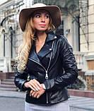 Чорна подовжена куртка з натуральної шкіри Fabio Monti, фото 2
