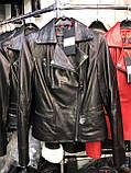 Чорна подовжена куртка з натуральної шкіри Fabio Monti, фото 6