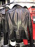 Чорна подовжена куртка з натуральної шкіри Fabio Monti, фото 4