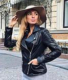 Чорна подовжена куртка з натуральної шкіри Fabio Monti, фото 7