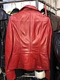 Червона подовжена куртка з натуральної шкіри Fabio Monti, фото 2