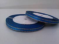 Лента атлас с люрексом синяя