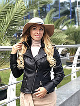 Черная стильная куртка из натуральной кожи Fabio Monti