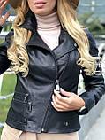 Черная стильная куртка из натуральной кожи Fabio Monti, фото 10
