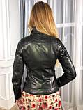 Черная стильная кожаная косуха про-во Турция со стеганым плечом, фото 9
