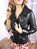 Черная стильная кожаная косуха про-во Турция со стеганым плечом, фото 3