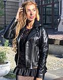 Черная классическая кожаная куртка Турция, фото 2