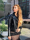 Чорна класична шкіряна куртка Туреччина, фото 3