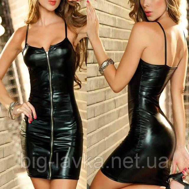 Соблазнительное платье на молнии Babydoll  Черное