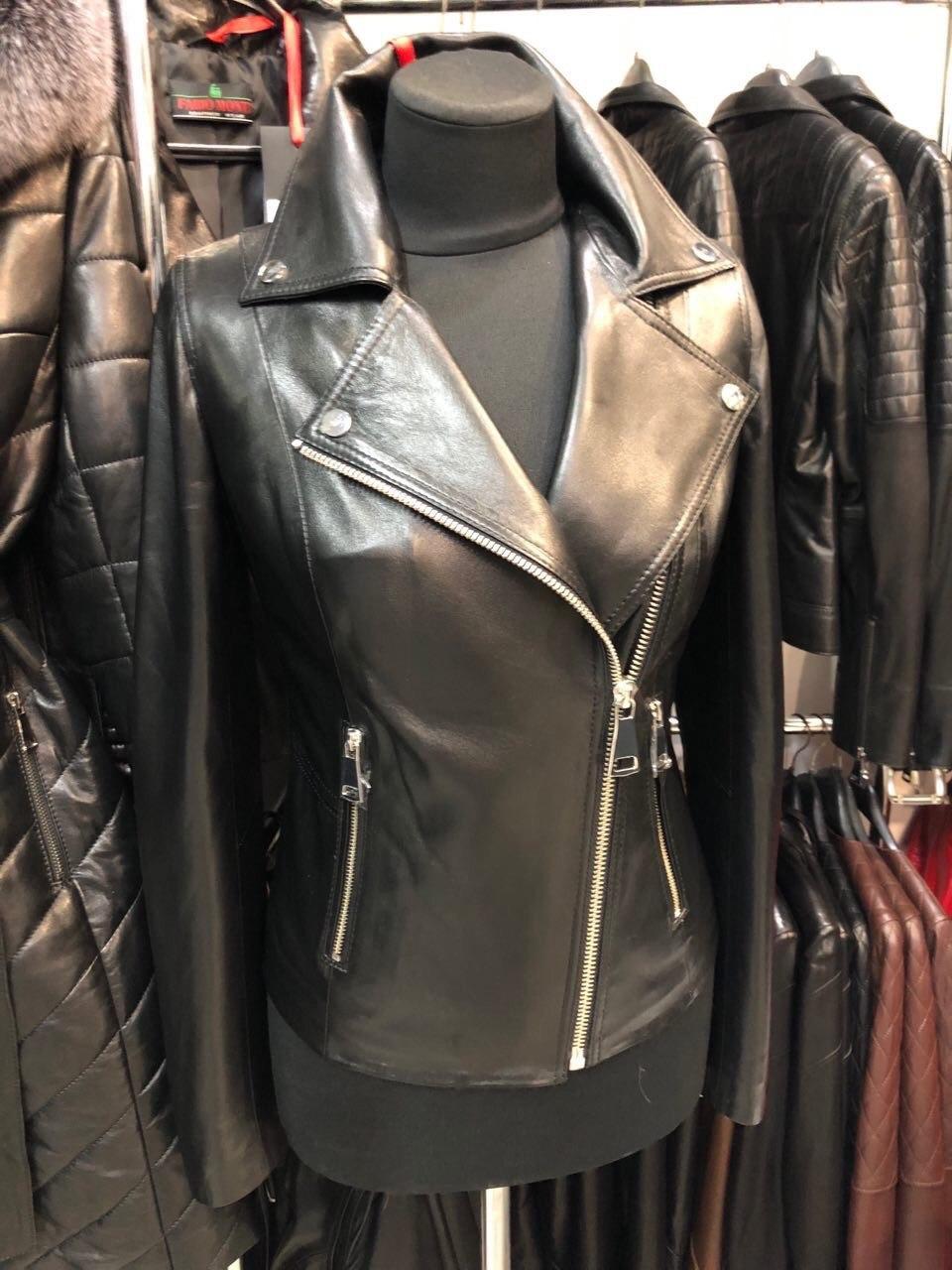 Чорна класична шкіряна куртка Туреччина