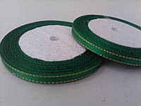 Лента атлас с люрексом зеленая