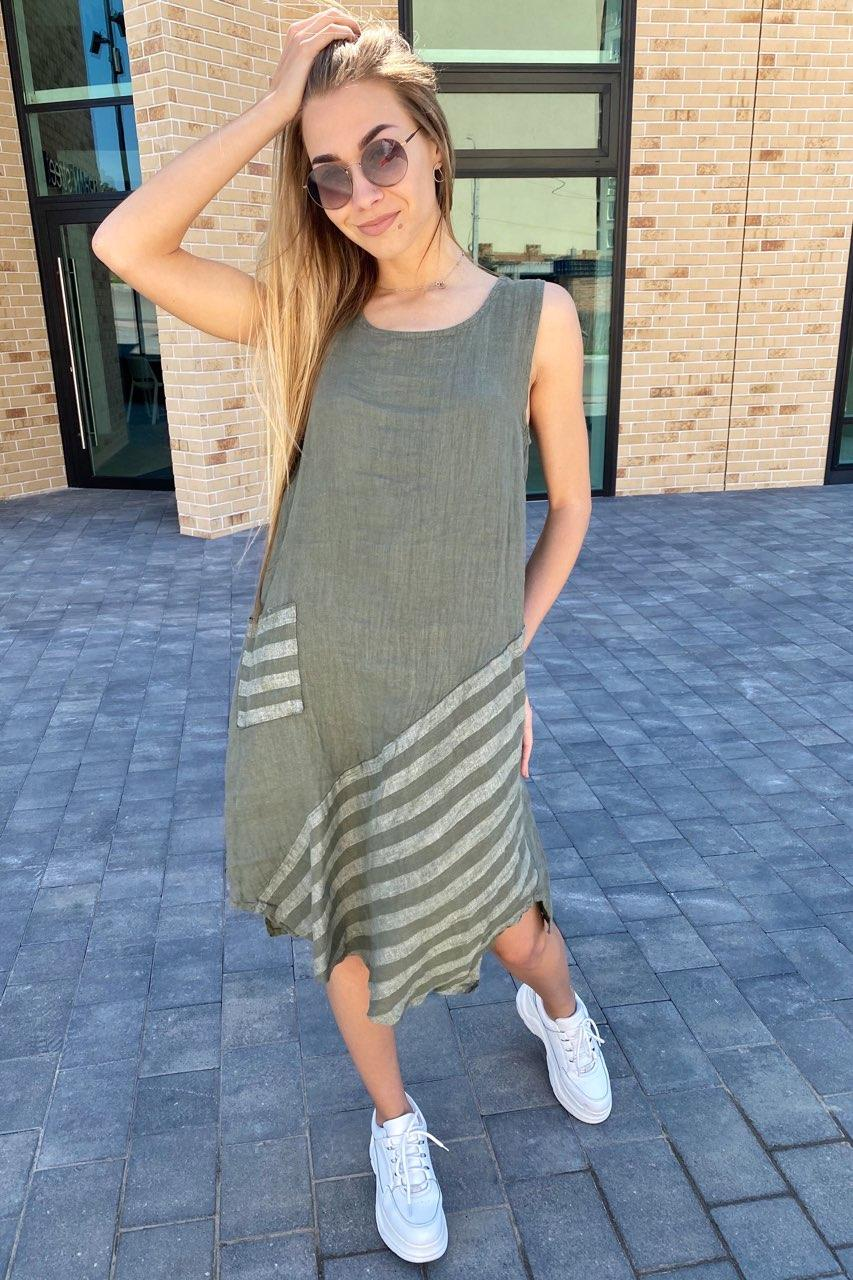 Стильное летнее платье Puro Lino - хаки цвет, XL (есть размеры)