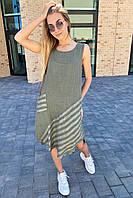 Стильное летнее платье Puro Lino - хаки цвет, XL (есть размеры), фото 1