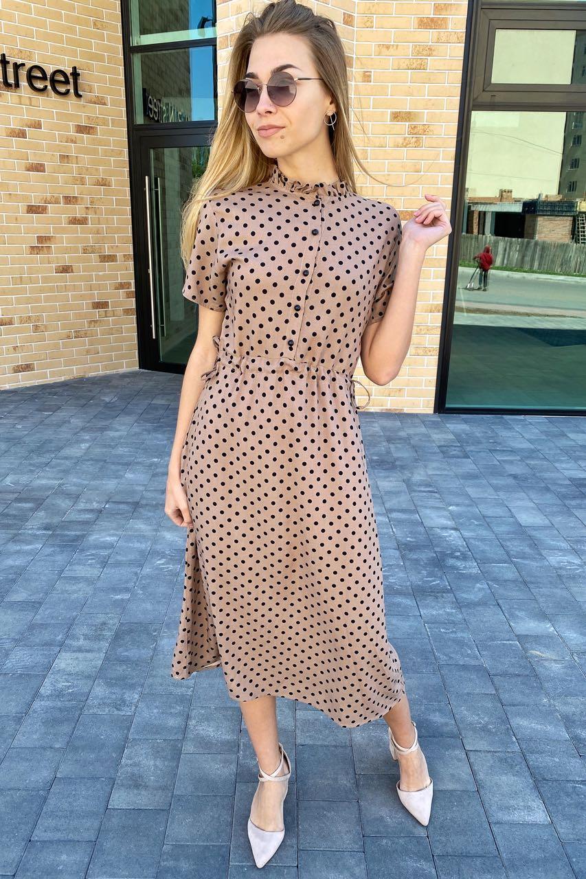 Летнее платье в горох с карманами  Pintore - бежевый цвет, 42р (есть размеры)
