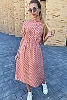 Летнее платье в горох с карманами  Pintore - персиковый цвет, 42р (есть размеры), фото 1