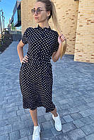 Летнее платье в горох с карманами  Pintore - черный цвет, 42р (есть размеры), фото 1