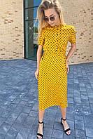 Летнее платье в горох с карманами  Pintore - горчичный цвет, 44р (есть размеры), фото 1