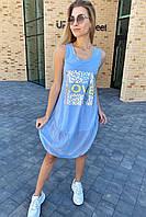 Летний сарафан over-size с принтом на груди  Love LUREX - голубой цвет, S (есть размеры), фото 1