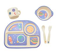 Большой набор детской посуды из бамбука - Ракета