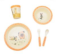Набор детской посуды из бамбука - Щенки