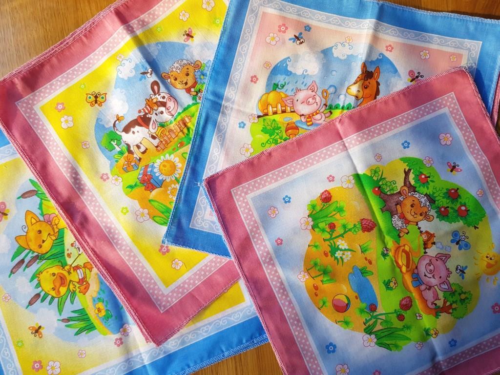 Носовые платочки детские 6 рисунков украина носовые платки детские носовички дитячі хустинки для носа