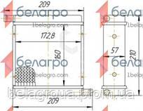 1216.8101060 Радиатор отопителя МТЗ 3-х рядный, патрубки в разные стороны (медно-латунный)