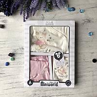 Крестильный костюм, подарочный набор на девочку Miniworld 5. Размер 62 см (1-3 мес)