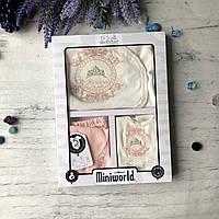 Крестильный костюм, подарочный набор на девочку Miniworld 8. Размер 62 см (1-3 мес)