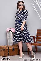 Женское платье в белый горох 48-50,52-54,56-58,60-62