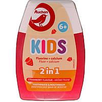 Средство 2 в 1 Auchan Kids Клубника  зубная паста и ополаскиватель для полости рта  от 6 лет  75 мл
