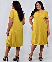 """Летнее льняное платье для полных ниже колена на шнурке свободное """"Джозалин"""", размери 48-58, сукня"""