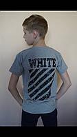 """Футболка подростковая для мальчика """"Off-white"""" 13-16 лет, серого цвета, фото 1"""