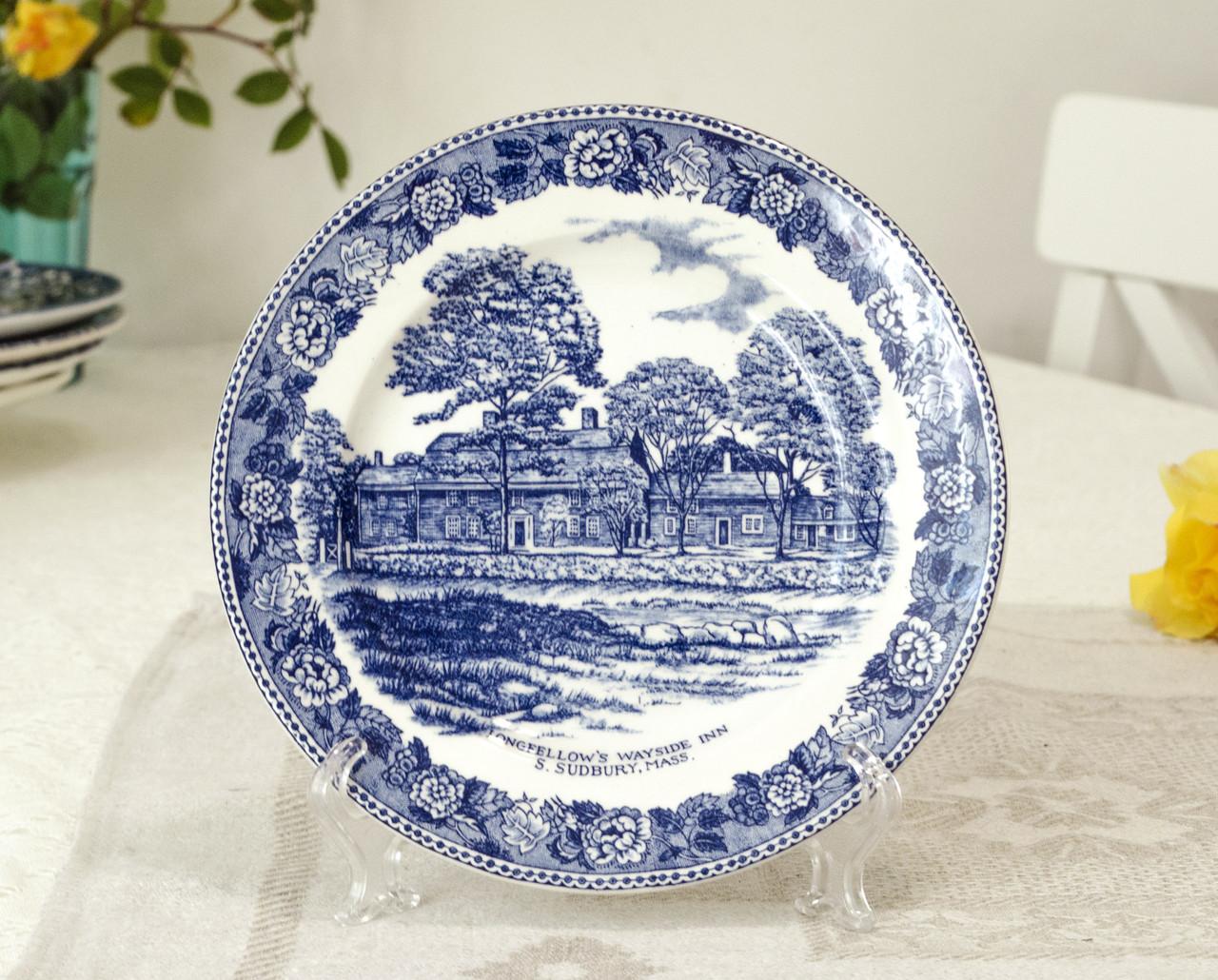 Коллекционная фарфоровая английская тарелка, Old English Staffordshire Ware, John Roth, Longfellow's Wayside