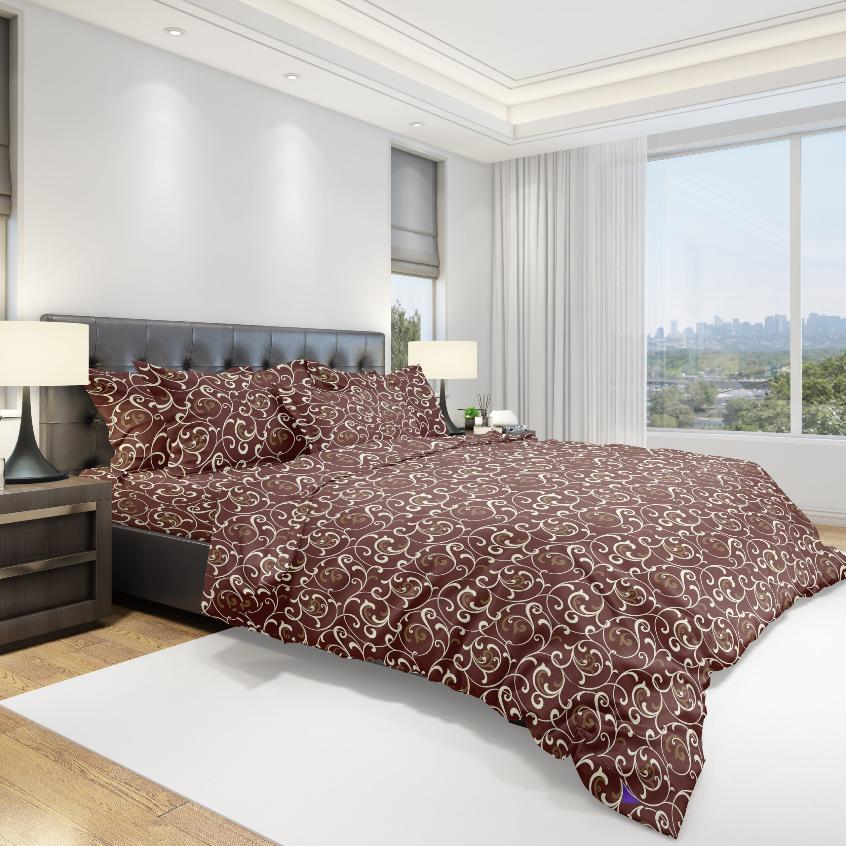 Ткань для постельного белья бязь Голд - Вензель коричневый