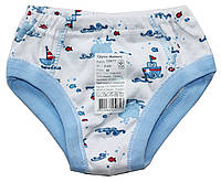 Трусики для мальчиков, белые с голубым, кораблики, размер 52 - рост 80 см, Ля-ля